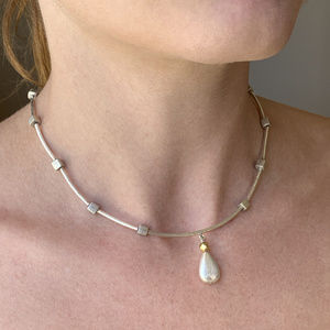 Modernist Hill Tribe Silver Necklace W/ 18k Accent